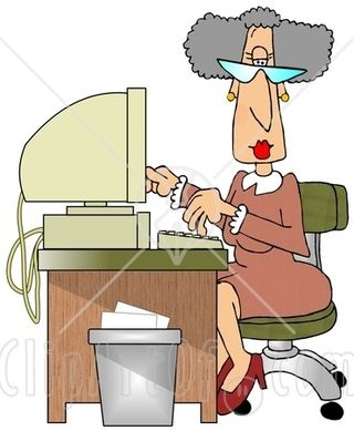11199-Gray-Haired-Secretary-Woman-Working-At-A-Computer-Desk-In-An-Office-Clipart-Illustration