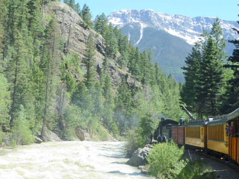 Rushing river shows train