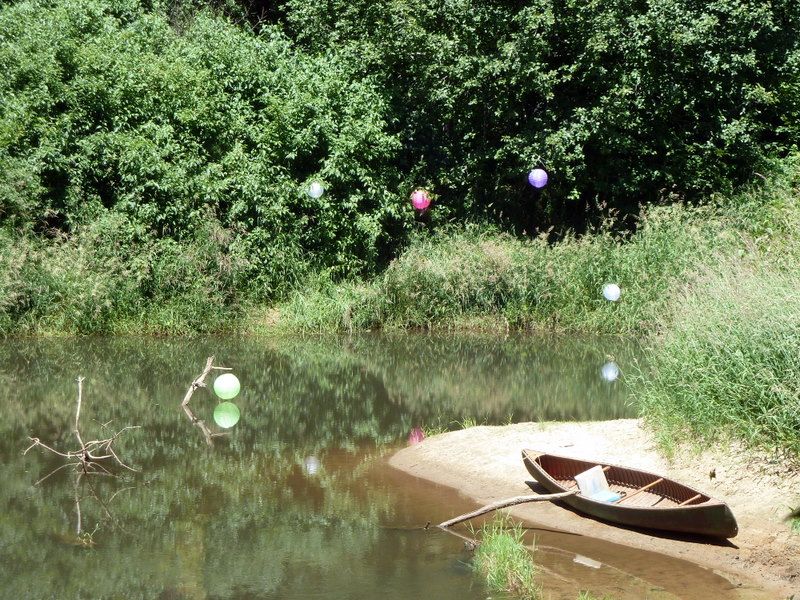 River bank floats canoe